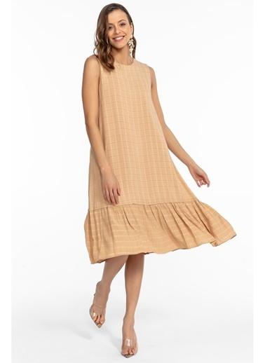 Tiffany&Tomato Salaş Floş Ekose Elbise Vizon